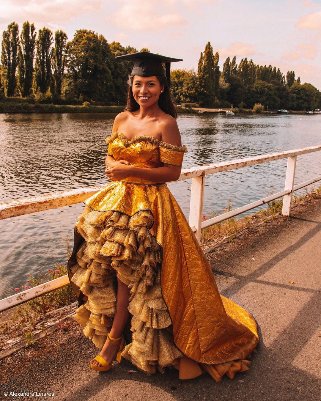 Graduation dress of pineapple fabric (Piñatex)