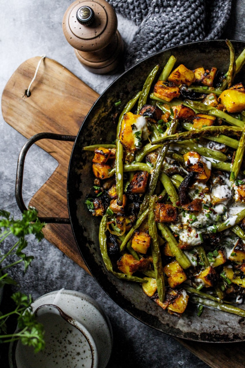 Crushed Potatoes with Green Beans